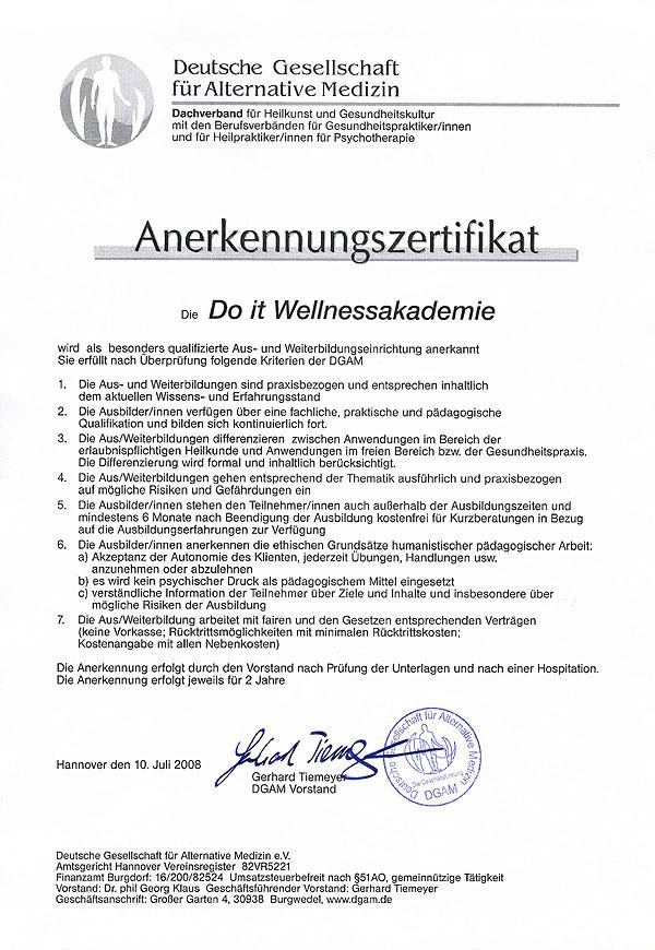 DGAM-Urkunde